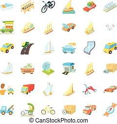 Sailing icons set, cartoon style