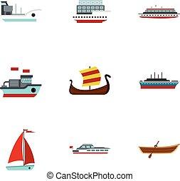 Sailing icons set, flat style