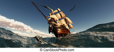 Sailing - illustration of sea and Old sailboat in 3d