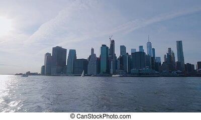 Sailing in front of the Manhattan downtown, New York