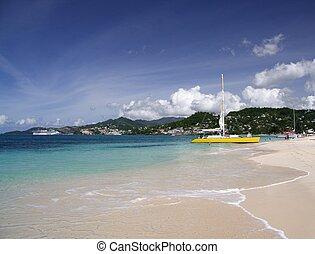 Sailing in paradise - Catamaran on a beautiful caribbean ...