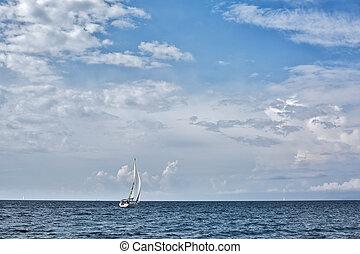 Yacht sailing in the Saronic Gulf, Greece