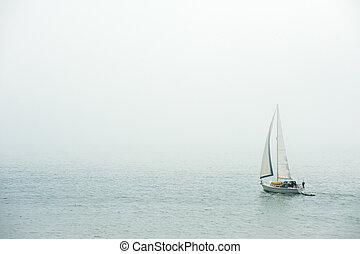Sailing in the dense fog