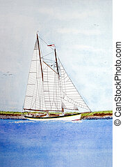 Sailing in Watercolor