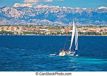 Sailing in Zadar waterfront summer view, Dalmatia, Croatia