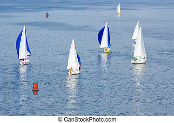 Sailing life on a summer river Dnipro