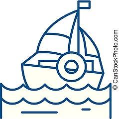 Sailing line icon concept. Sailing flat vector symbol, sign, outline illustration.