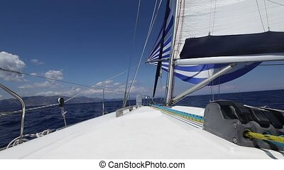 Sailing. Luxury cruise yacht. (HD)
