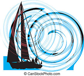 Sailing luxury yacht. Vector illust