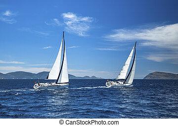 Sailing. Luxury yachts. Boat in sailing regatta.
