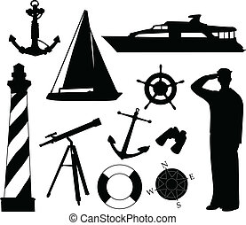 Sailing objects and equipment - vector