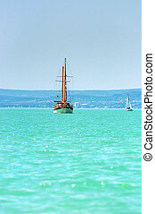 Sailing on beautiful blue sea