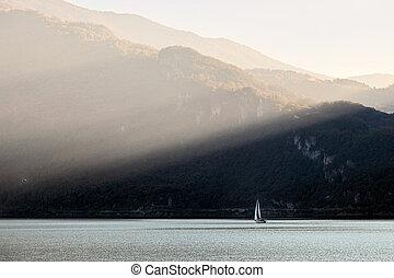 Sailing on Lake Como at Lecco italy