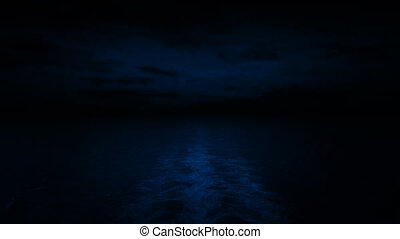 Sailing On Ocean At Night POV - Back view from ship at sea...