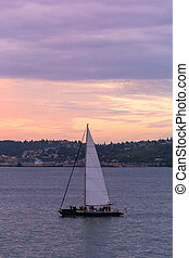 Sailing on Puget Sound at Sunset