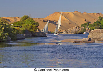 Sailing on the Nile. Near Aswan. - Typical sailing on the...