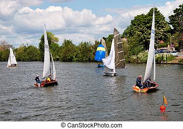 Sailing on the River Thames near Kingston-upon-Thames Surrey