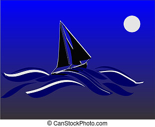 Sailing once in a blue moon.. - Cutter sailing in the night...