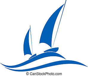Sailing or yachting emblem - Sailing or yachting sport...