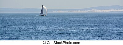 Sailing... - Seascape with sailboat on the Atlanitc ocean on...