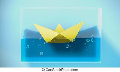 sailing., plié, rendre, bateau papier, 3d