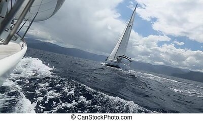 Sailing race. Yachting. Luxury boat