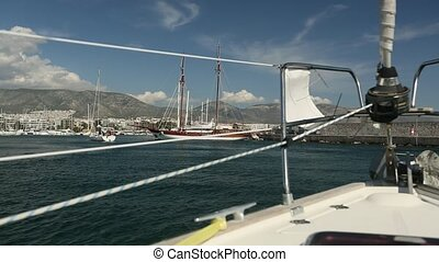 Sailing. Racing yacht in sea