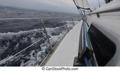 Sailing. Racing yacht in the sea