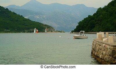 Sailing regatta in Montenegro. Regatta on yachts in the Boka Bay