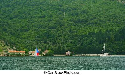 Sailing regatta in Montenegro. Regatta on yachts in the Boka...