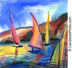 Sailing regatta - Sailing boats in the sea