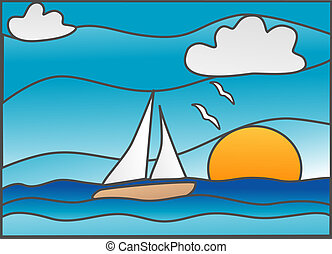 "Sailing - Sailboat in the ocean ""stained glass"" style ..."