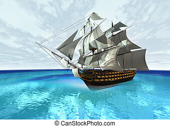 Sailing Ship - 3D digital render of a sailing ship in a blue...