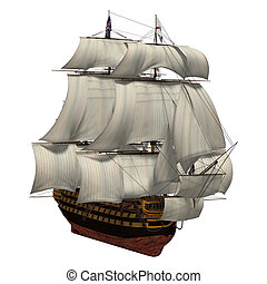 Sailing Ship - 3D digital render of a sailing ship with a ...