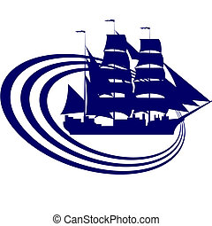 Sailing ship-5 - The contour of the ancient sailing ship. ...