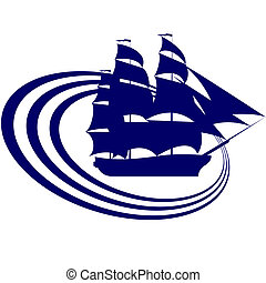 Sailing ship-6 - The contour of the ancient sailing ship. ...