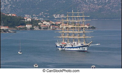 A large white sailing ship