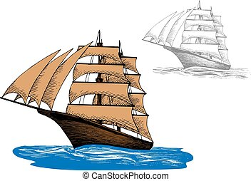 Sailing ship among blue ocean waves
