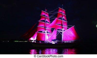 Sailing ship and fireworks - HD1080: Sailing ship and...