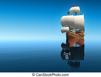 Sailing Ship And Its Reflection In The Form Of A Pirate Ship