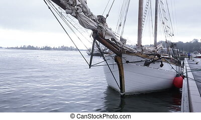 Sailing ship at berth - Beautiful sailing vessel on the quay
