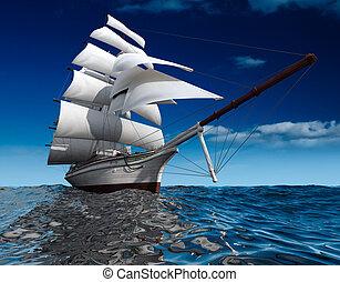 Sailing ship at sea - Sailing ship in the vast ocean with...