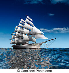 Sailing ship in the vast ocean with small waves is getting all the sails filled with sea breeze