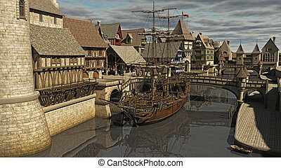 Sailing ship moored at Medieval or fantasy waterside town docks, 3d digitally rendered illustration