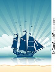 Sailing Ship background - Sailing Ship in the Sea...