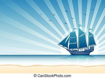 Sailing Ship background - Sailing Ship in the Sea...