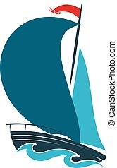Sailing ship design - Sailing ship on blue waves design