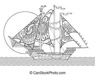 Sailing ship drawing coloring book vector