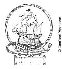 Sailing Ship Engraving illustration - Sailing ship in rope...