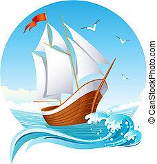 sailing ship - Vector illustration - sailing ship emblem